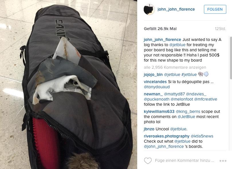 John John's Boardbag nach der Behandlung von JetBlue.
