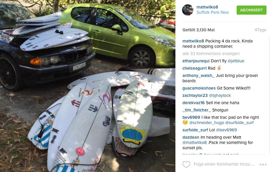 Ob Matt Wilkinson auch alle Boards mit nach Hawaii bringen konnte, wissen wir nicht.