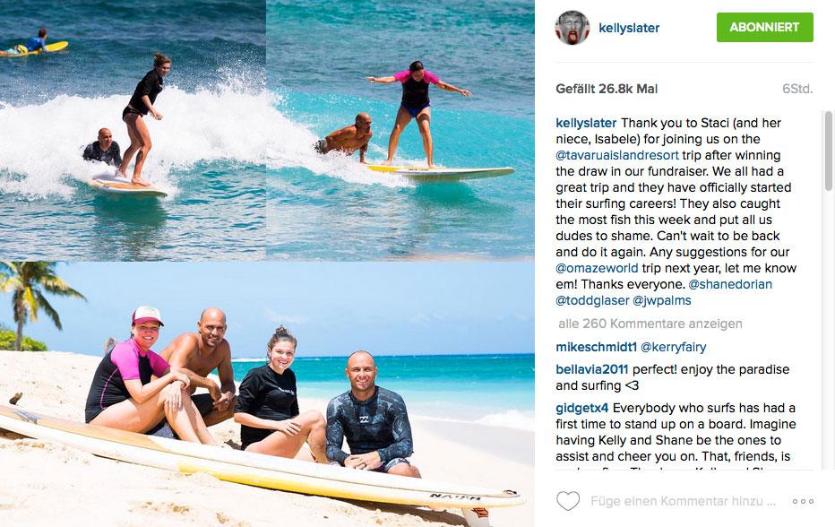 Wahrscheinlich die berühmtesten Surflehrer der Welt: Kelly Slater & Shane Dorian.