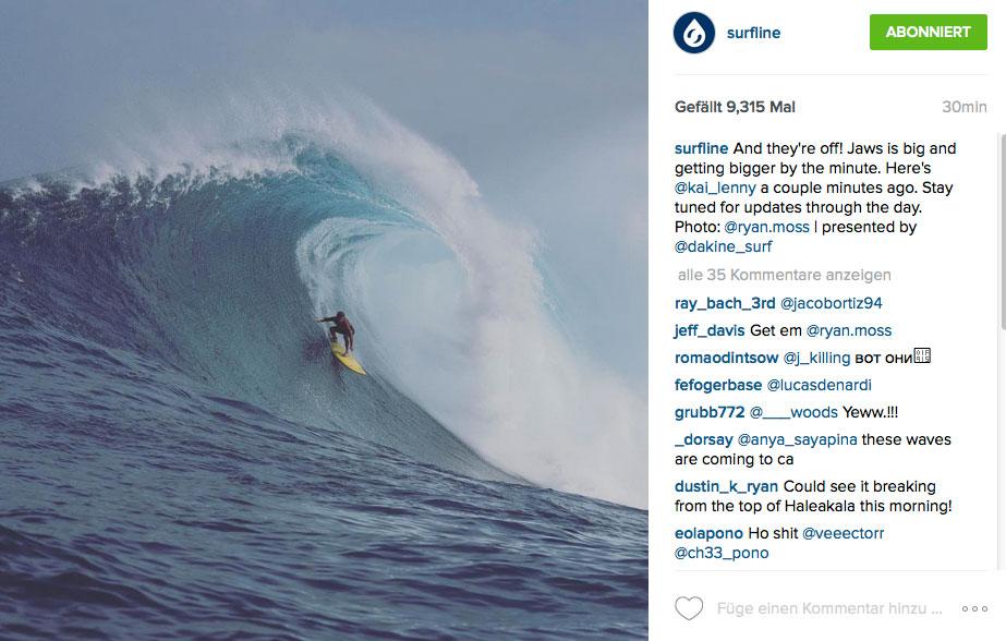 So sah eine der ersten gerittenen Wellen in Jaws aus.
