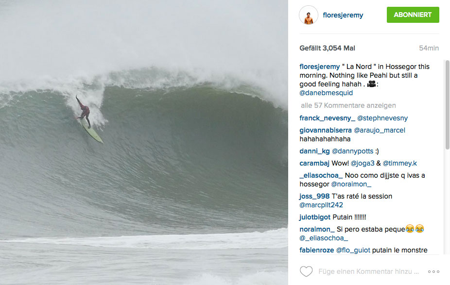 Jeremy Flores paddelte bei sich daheim in ein paar dicke Wellen in La Nord, dem Winterspot von Hossegor.