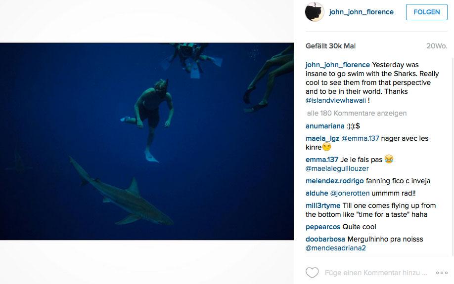 Manchmal machen Haie John John aber auch keine Angst.