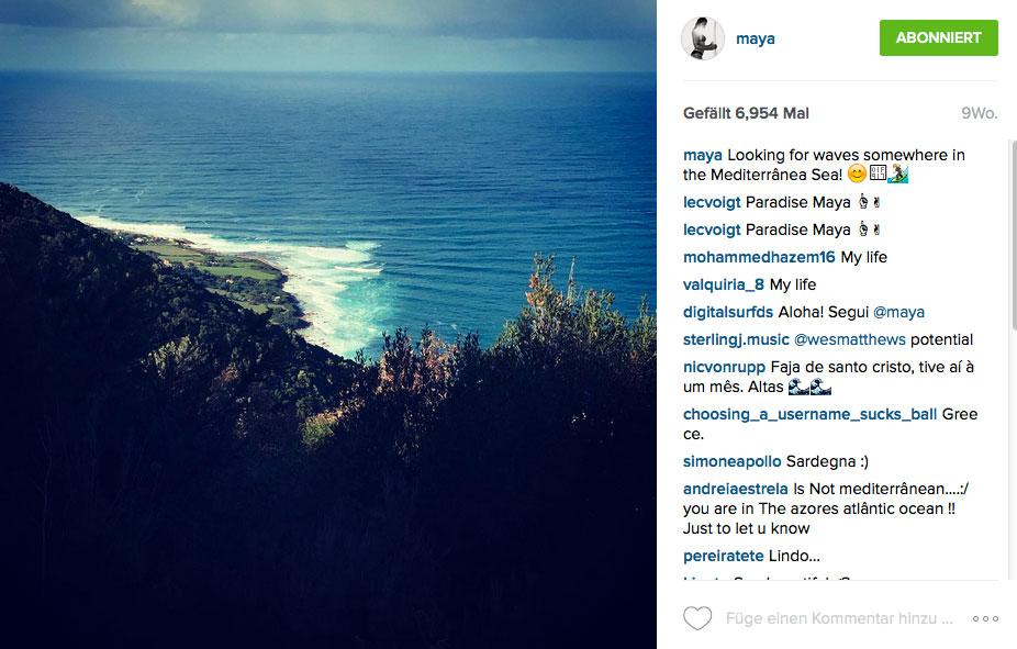 Da gibt es dieses Foto, das Maya Gabeira selbst aufgenommen hat und irgendeinen Point im MIttelmeer zeigt.