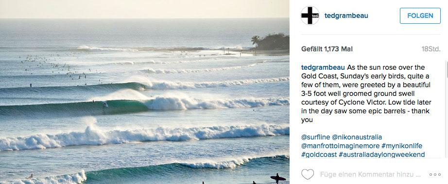 Snappers kurz nach Sonnenaufgang. Es gibt Gerüchte, dass eine Welle tatsächlich ungeritten blieb.