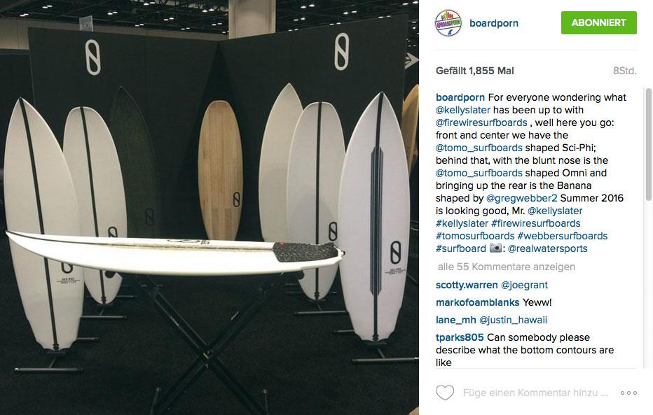 Der Quiver von Slater Designs: Rechts das Sci-Phi mit dem futuristischen Tail. Dahinter das Omni ohne Nose und dahinter das Banana.