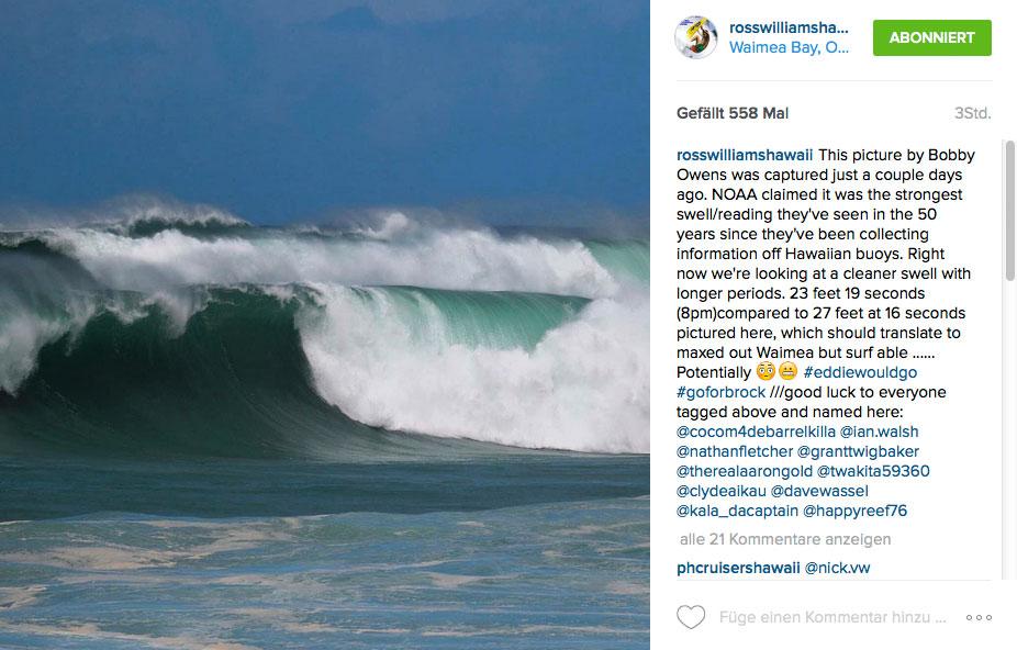 So sah Waimea Bay am Montag aus. Nur wenige Surfer versuchten den Lineup zu erreichen, keiner schaffte es. Es war einfach zu groß und zu wild, doch was erwartet und heute Abend?