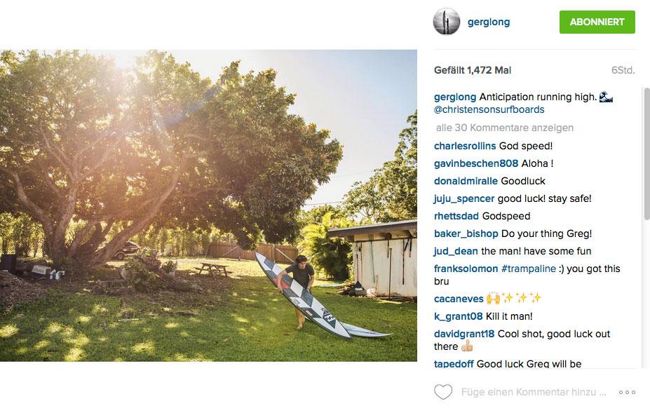 Greg Long holt schon mal seinen Quiver für den Eddie heraus.