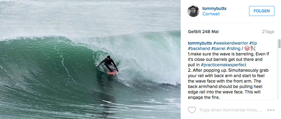 Tom Butler in einer lehrbuchhaften Backside Barrel am besten Spot der Küste.