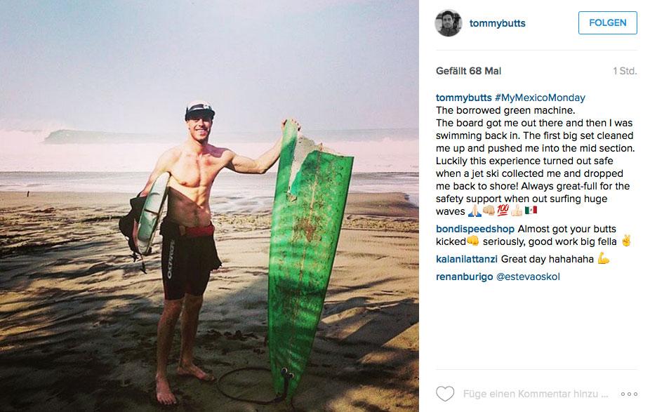 Normalerweise jagt Tom Bulter größeren Wellen hinterher, wie hier auf einem Trip in Mexiko.