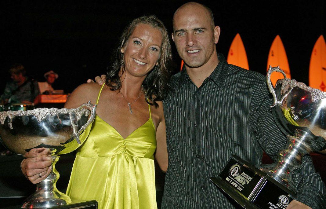 Layne Beachley und Kelly Slater 2007 bei der offiziellen ASP World Champion Party. Damals gewann Layne ihren siebten und Kelly seinen achten Weltmeistertitel.