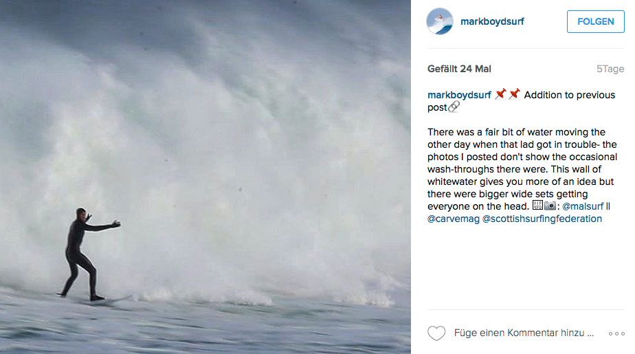 Weißwasserwalzen wie auf diesem Foto rollten auch an dem Tag heran, als Marks Warnungen ignoriert wurden.