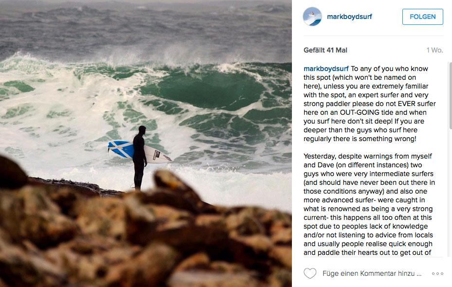 Marc Boyd kennt die Tücken Spots in Schottland und hat schon mehr als einmal erlebt, wie selbst erfahrene Surfer der Panik nahe waren.