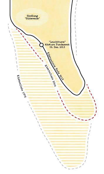 Die Küstenlinie der Südspitze Sylts: 1972, 2006 und 2013.