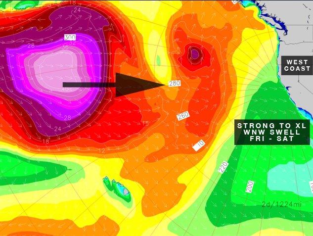 Der Sturm verpasst knapp Hawaii (daher auch kein Eddie), schickt aber 30-Fuß-Wellen nach Nordkalifornien.