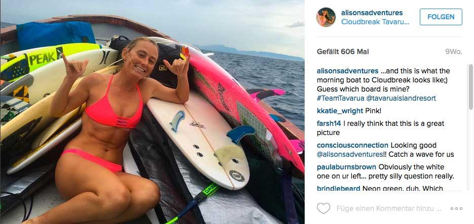Alison Teal surft, snowboarded, segelt, klettert, taucht, reitet...