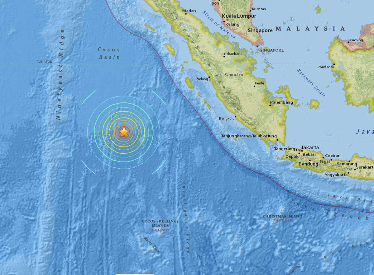 Das Epizentrum des Erdbebens vor Sumatra.