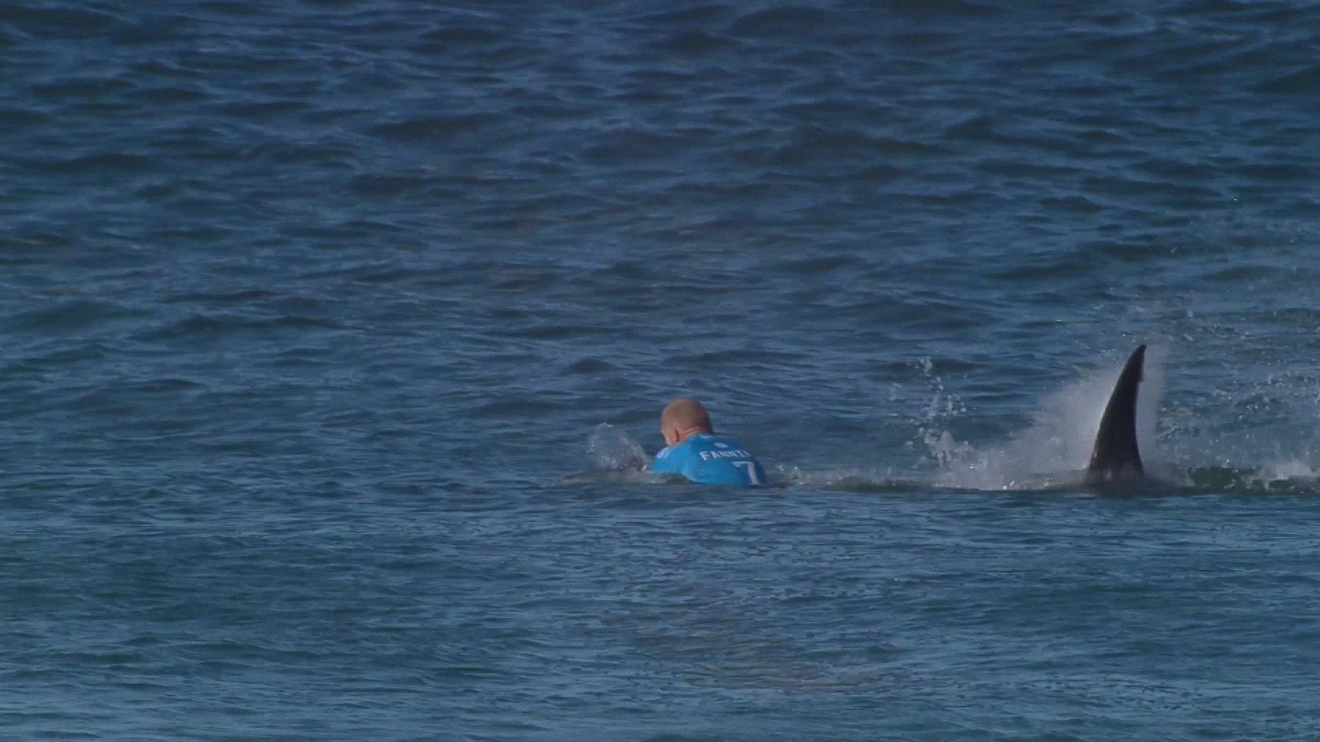 Mick Fanning entkam letzten Juli nur ganz knapp einem Haiangriff in J-Bay.