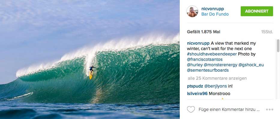 Nur ein Beispiel für die Wellen, mit denen sich Nic anlegt.