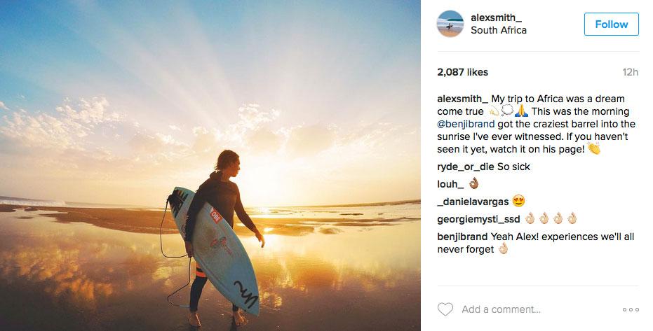 Alex Smith mit brennenden Oberschenkeln in Skeleton Bay.