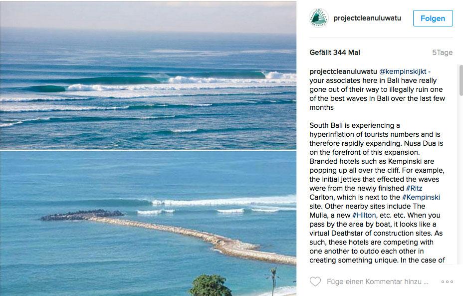 Früher eine verdammt gute, wenn auch nicht leicht zu surfenden Barrel. Heute ein Jetty, auf dem Touristen zu den Wellen gehen können.
