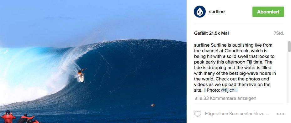 """Der Vormittag brachte die besten Surfbedingungen. Manchen Wellen mutierten zu wahren """"Growern"""", die über dem Riff immer größer und hohler wurden."""