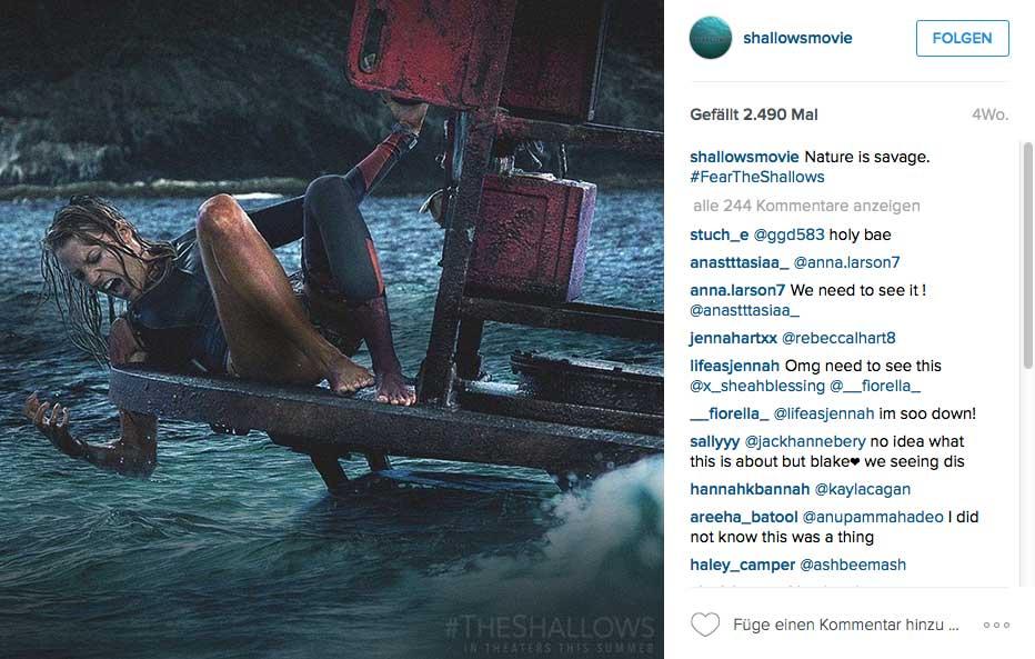 Dann geht der Hai in die Offensive und treibt unsere geschundene Heldin in die Enge.