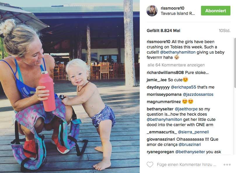 Bethany mit ihrem Sohn Tobias, der übrigens genau heute Geburtstag hat.