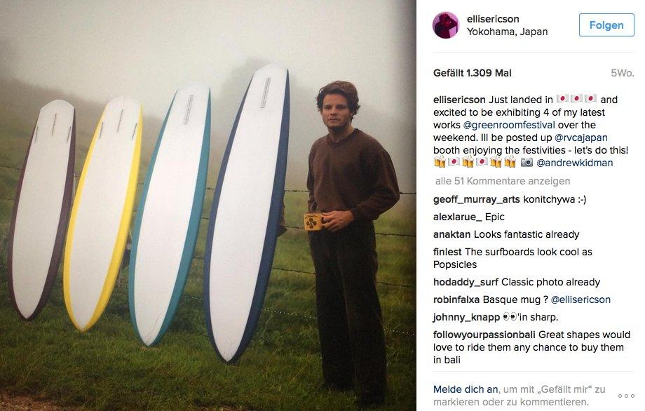Das Foto von Ellis Ericson und seinen Sunflower Surfboards könnte auch in den 70er Jahren aufgenommen worden sein, oder?