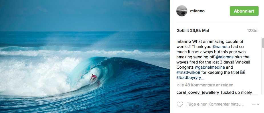 Der Ozean zeigt sich im Viertelfinale in bester Form und ließ dann langsam nach. Hier profitiert noch Mick Fanning von der Power der Wellen in den ersten Stunden.