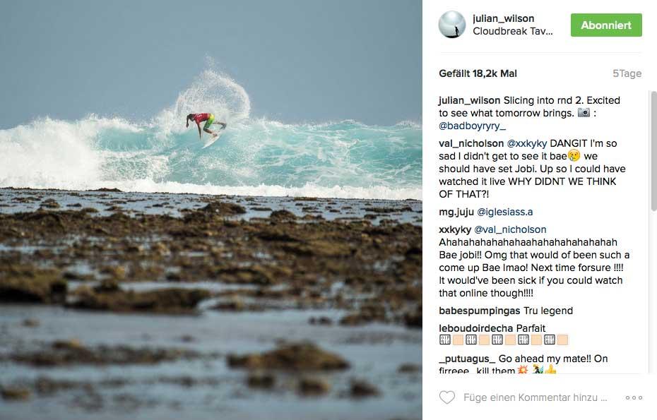 Zwei Tage surfen, kosteten Julian Wilson lockere 6.300 Dollar. Ob der Helikopterflug inklusive war, wissen wir nicht.