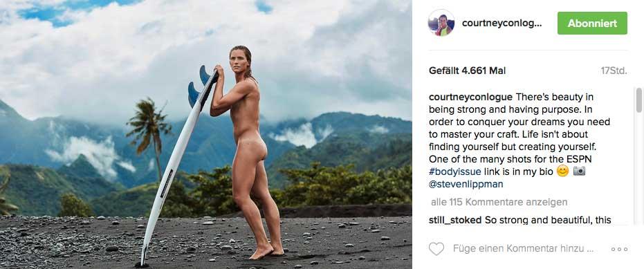 Vor Courtney waren auch schon Kelly Slater, Laird Hamilton, Coco Ho und Maya Gabeira in der Body Issue.