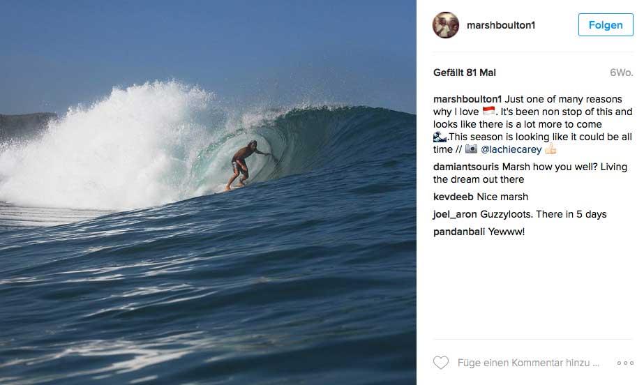 Der einzige, der hier Geld beim Surfen verdient, ist Surfcoach Marshall Boulton.