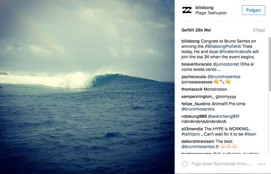 Bei den Trials, die übrigens Bruno Santos gewann, sahen die Wellen so aus. Ähnlich wird es wohl bei dem Contest zugehen.