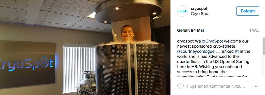 Courtney hat die Kältetherapie für sich entdeckt.
