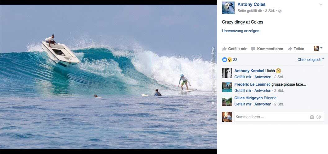 Vielleicht täuscht die Perspektive, aber an Stelle der beiden Surfer vor der Welle, würde ich anfangen zu paddeln.