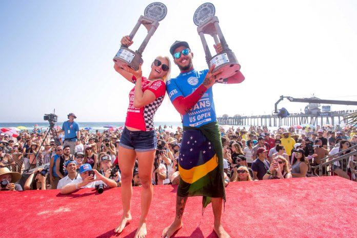 Filipe nach seinem Sieg ei den US Open in Huntington Beach. Credit: WSL