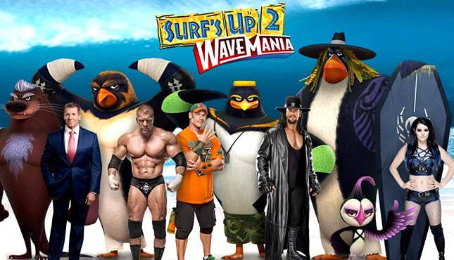 Die Wrestler und ihre surfenden Pinguin-Charaktere.