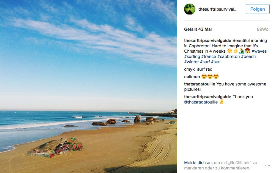 Aber wieso in der Ferne schweifen, wenn das Gute liegt so nah? Dieses Foto entstand Ende November (!) an der französischen Atlantikküste, genauer gesagt in Capbreton. Flugzeit von Deutschland: Gerade einmal zwei Stunden.