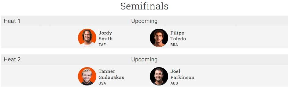Die vier Surfer, die noch in im Halbfinale dabei sein. Unser Prime-Surfing-Tipp: Nach Jordy Smith wird es Filipe im Finale dann mit Tanner Gudauskas zu tun bekommen und ihm keine Chance lassen.