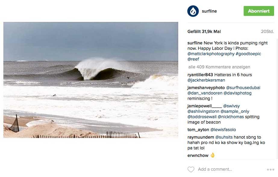 Aber die Wellen hatten auch eine gehörige Portion Power. So viel Power sogar, dass die Surfshops an der Ostküste auf ein gutes Geschäft hoffen. Die ganzen gebrochenen Boards müssen ja ersetzt werden.