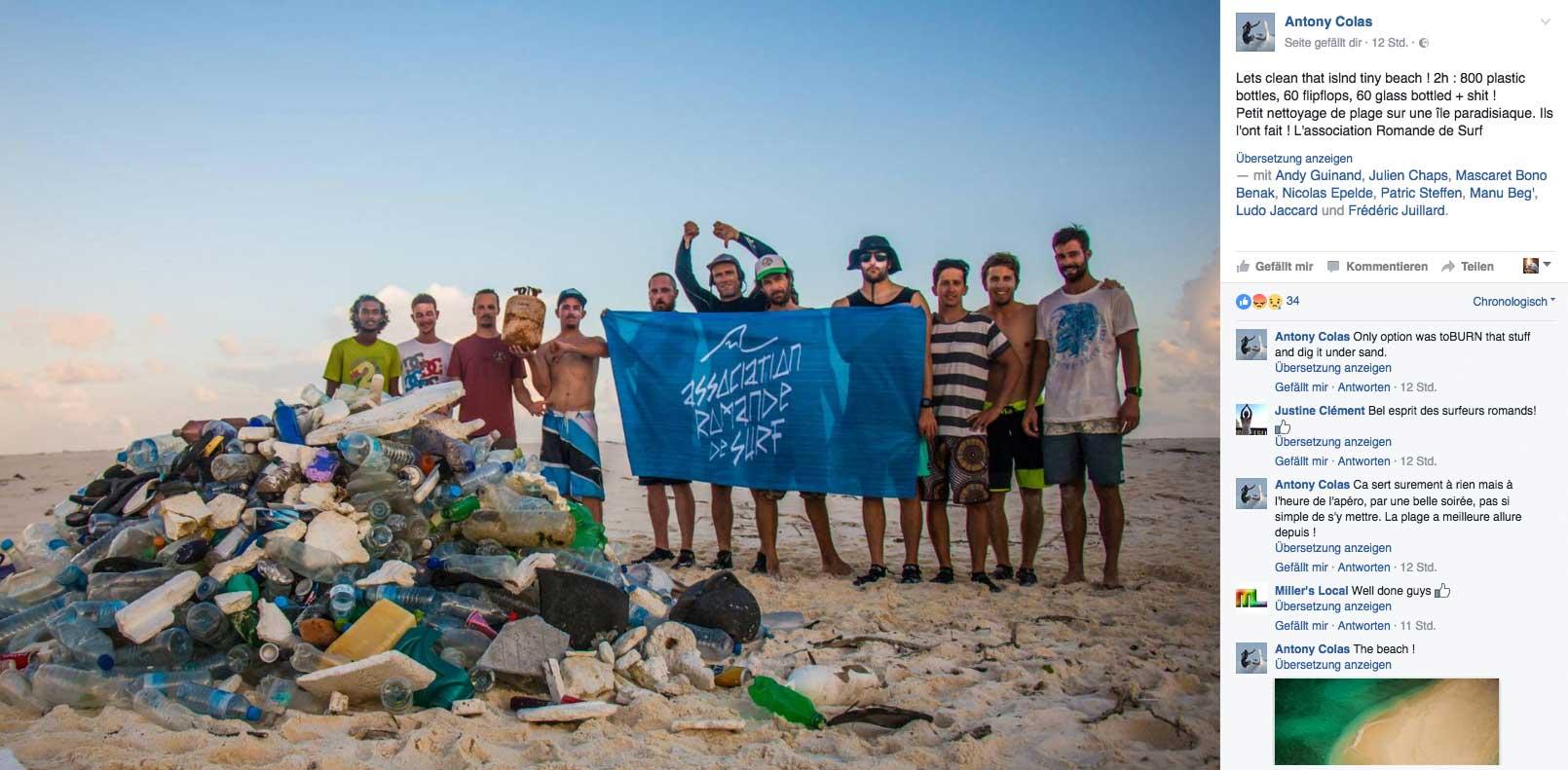 Die Crew der Müllsammler auf den Malediven mit ihrer Beute.