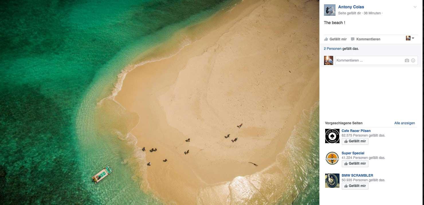 Der Strand der Insel aus der Vogelperspektive. Wenn man nur weit genug entfernt ist, sieht man kein bisschen Müll mehr.