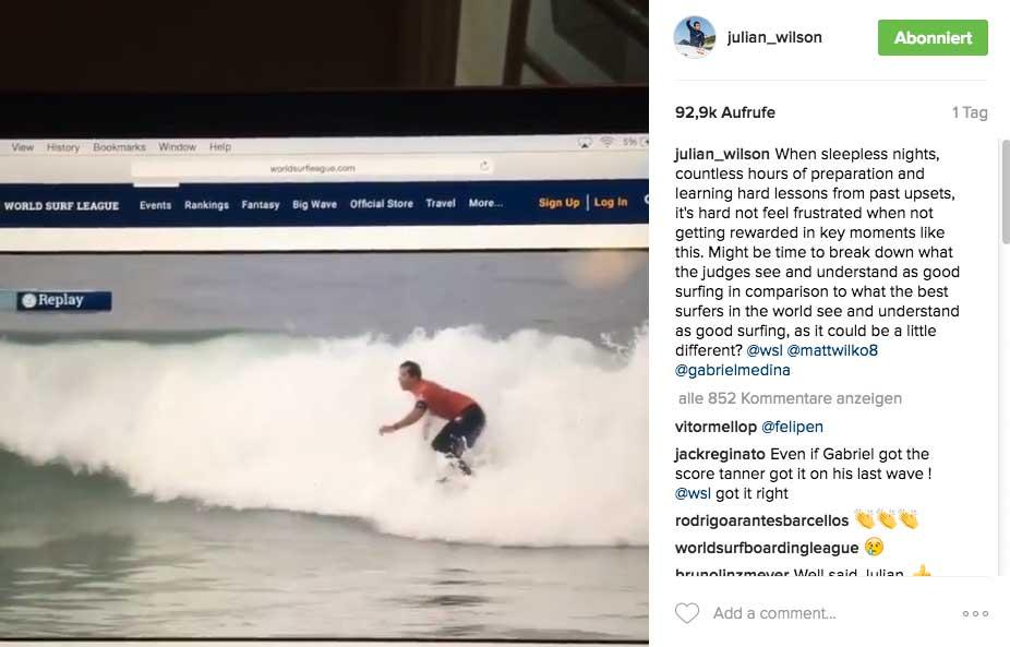 """Julian griff mit seinem Post die Judges direkt an: """"... vielleicht ist es an der Zeit genau nachzufragen, was die Judges für gutes Surfen halten?"""""""