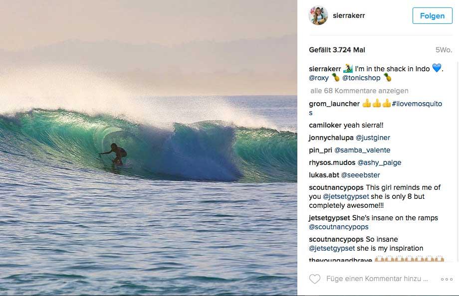 Sierra beim Surfen, wie man als 9-jährige halt so surft.