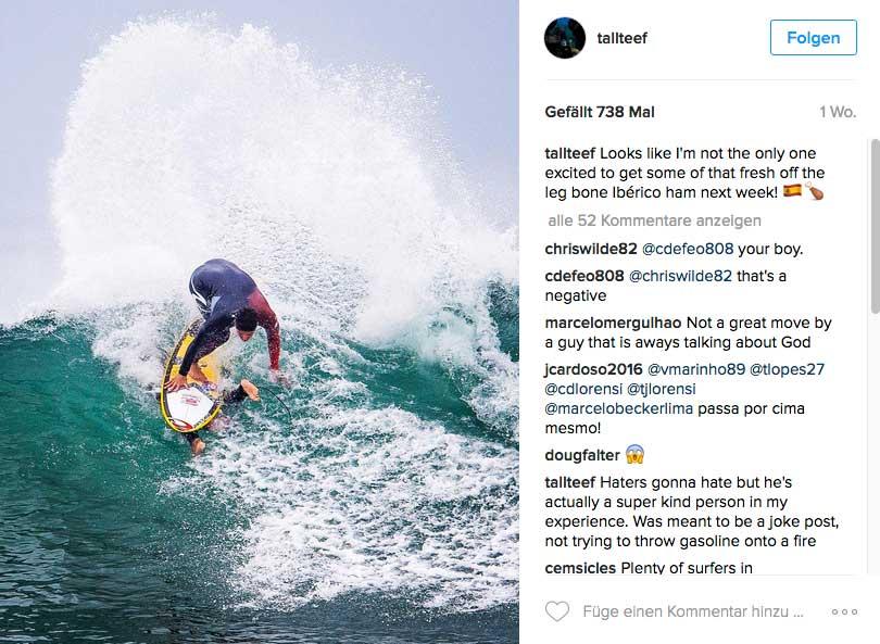 Sieht unangenehm aus - also für den Surfer unter Gabriels Board.