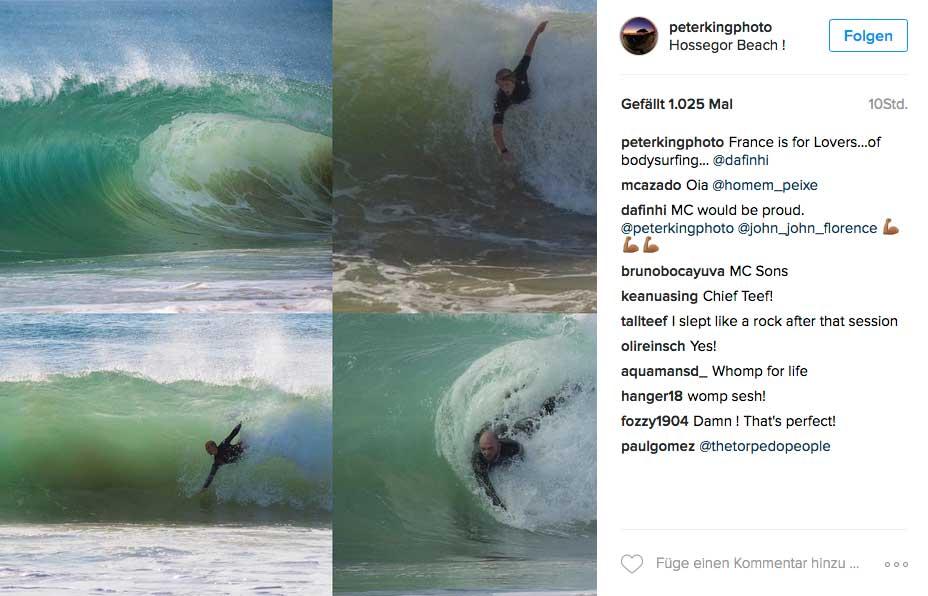 John John zuerst beim Bodysurfen - wobei unten rechts, das ist er nicht.