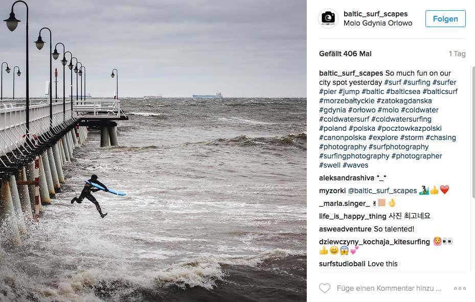 Und noch ein Schnappschuss, der wohl eher einen normalen Surftag in Polen zeigt.