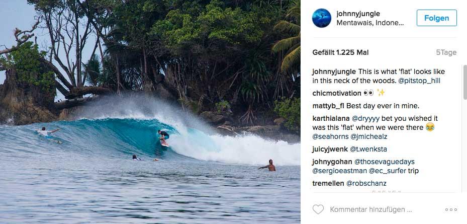 Ein Bonus bei Johnnys Job: Es gibt fast täglich solche Wellen zu reiten.