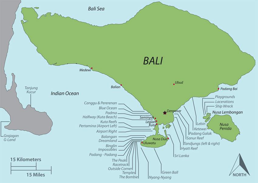 Links die weltbekannte Westküste Balis mit Spots wie Uluwatu, Padang Padang und Bingin und rechts die unbekanntere Ostküste.