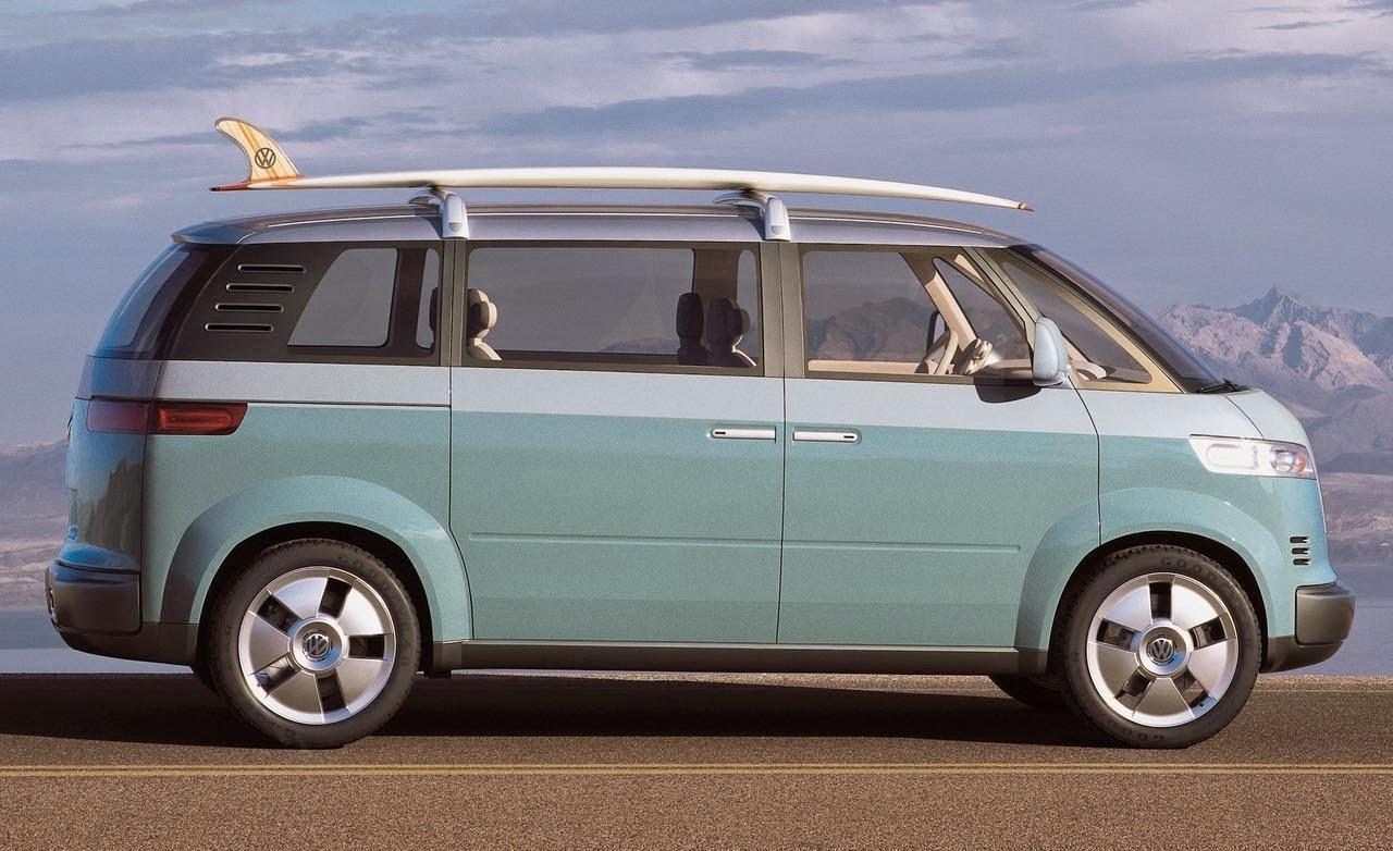 Der Microbus samt Longboard (mit VW-Logo) in seiner ganzen Pracht.